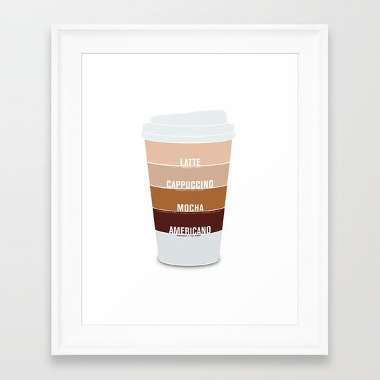 four shades of coffee + ingredients Framed Art Print