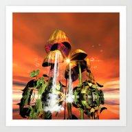 Mushrooms In The Sea Art Print