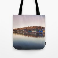 Dawn at the lake Tote Bag