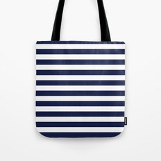 Stripe Horizontal Navy Blue Tote Bag