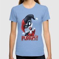 Puddin'! Womens Fitted Tee Tri-Blue SMALL