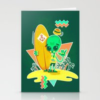 Alien Surfer Nineties Pattern Stationery Cards