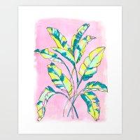 Neon Banana Leaves Art Print