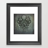 Grey Dectapus Framed Art Print