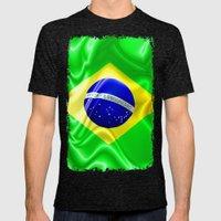 Brazil Flag Waving Silk Fabric Mens Fitted Tee Tri-Black SMALL