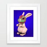 Lucha Rabbit -Grey Broth… Framed Art Print