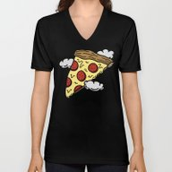 Floating Pizza Unisex V-Neck