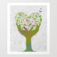 Butterfly Love Tree Art Print