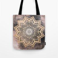 GOLD EARTH FLOWER MANDALA Tote Bag