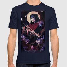 Death Tarot Mens Fitted Tee Navy SMALL