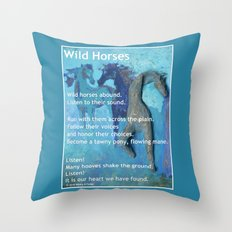 Wild Horses: Poem and Painting Throw Pillow