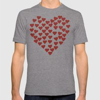 Hearts Heart Red On Navy… Mens Fitted Tee Tri-Grey SMALL