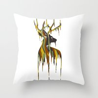 Painted Stag Throw Pillow