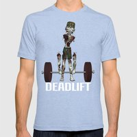 Crossfit Zombie by RonkyTonk doing Deadlift Mens Fitted Tee Tri-Blue SMALL