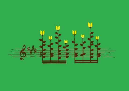 Music notes garden Art Print