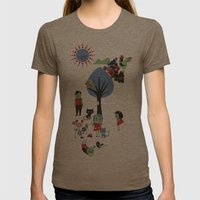 Beautiful day pattern Womens Fitted Tee Tri-Coffee SMALL