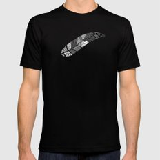 Feather 2 SMALL Black Mens Fitted Tee