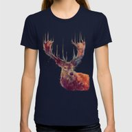 Red Deer // Stag Womens Fitted Tee Navy SMALL