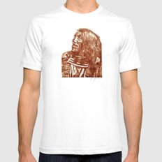 Native Etch in warm brown SMALL White Mens Fitted Tee