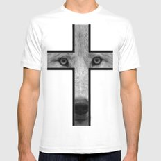 Wolf White SMALL Mens Fitted Tee