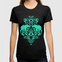 Elephant Damask Mint Womens Fitted Tee Tri-Black SMALL