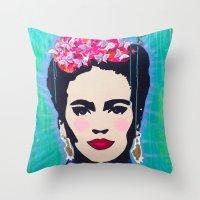 Frida Kahlo by Paola Gonzalez Throw Pillow