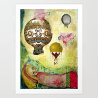 Flying Ballons Art Print
