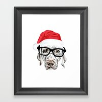 Christmas Weimaraner Framed Art Print