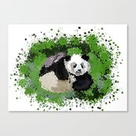 Canvas Print featuring Cute Playful Panda  by Grapesmithsarts