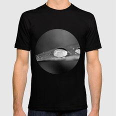 Waterdrop on a Leaf Black and White Black SMALL Mens Fitted Tee