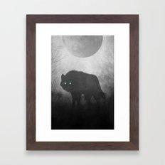 Black and White Wolf Moon Silhouette  Framed Art Print