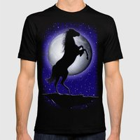 Wild Horse On Blue Moon  Mens Fitted Tee Black SMALL