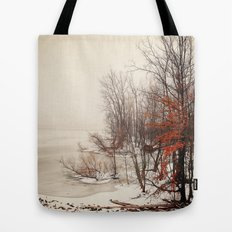On winters frozen pond Tote Bag