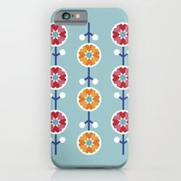 Scandinavian inspired flower pattern - blue background iPhone 6 Slim Case