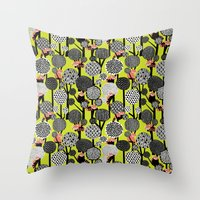 Red Panda Forest - Lime … Throw Pillow