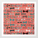 Bow tie geek in pink Art Print