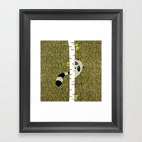 A shy raccoon Framed Art Print