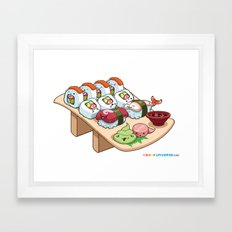 Kawaii California Roll and Sushi Shrimp and Tuna Nigiri Framed Art Print