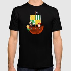pirate ship SMALL Black Mens Fitted Tee