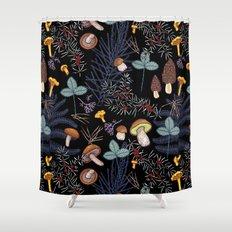 dark wild forest mushrooms Shower Curtain