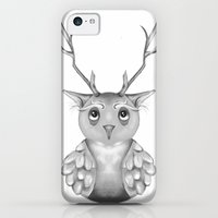 iPhone 5c Cases featuring Owl with Antlers by melcsee