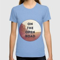 On The Open Road. Womens Fitted Tee Tri-Blue SMALL