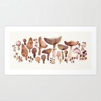 Watercolor Mushrooms Art Print