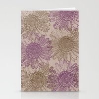 Purple and Gold Sunflowers Stationery Cards