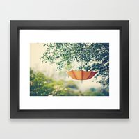 Orange Umbrella  Framed Art Print