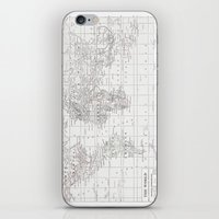 World Map ~ White On Whi… iPhone & iPod Skin