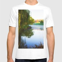 Morning mist on Schnormeier pond Mens Fitted Tee White SMALL