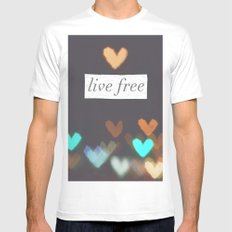 Live Free  Mens Fitted Tee SMALL White