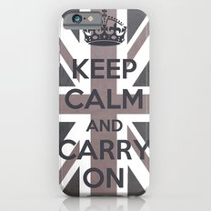 Keep Calm and Carry On UK - Purple/Grey Slim Case iPhone 6s