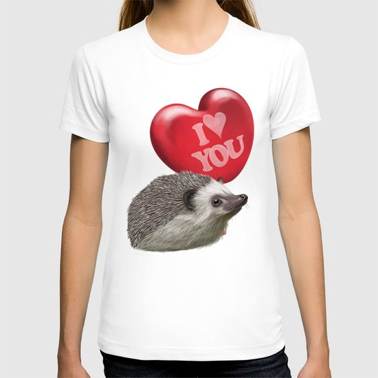 Hedgehog in love with a red balloon T-shirt